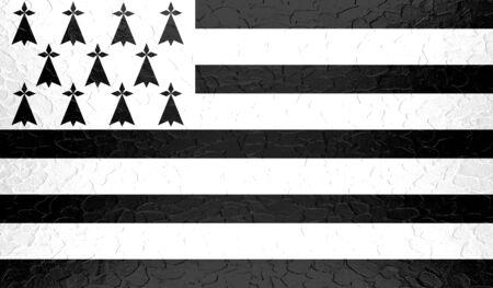 bretagne: Brittany flag on metallic metal texture Stock Photo