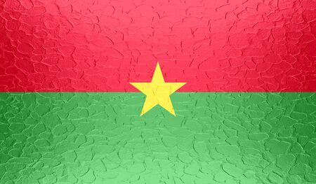 burkina faso: Burkina Faso flag on metallic metal texture