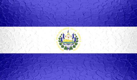 el salvador flag: El Salvador flag on metallic metal texture Stock Photo