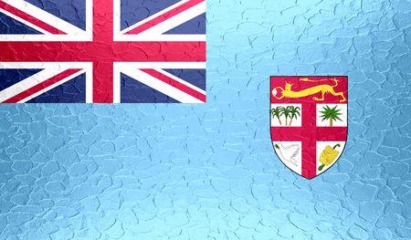 co lour: Fiji flag on metallic metal texture