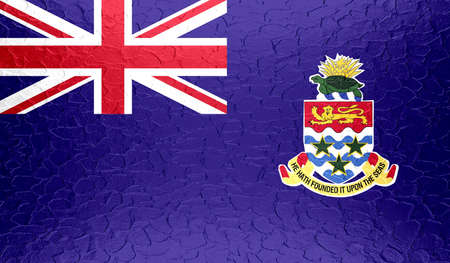 Cayman Islands flag on metallic metal texture photo