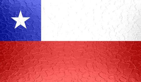 flag of chile: Bandera de Chile en la textura del metal met�lico Foto de archivo