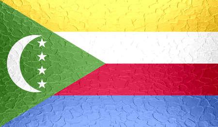 comoros: Comoros flag on metallic metal texture Stock Photo