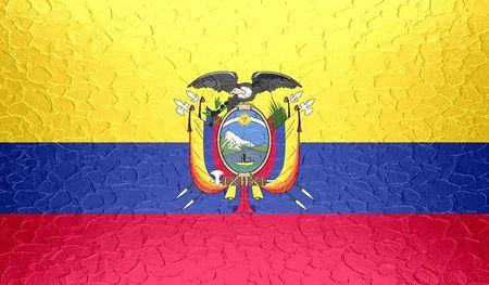 ecuador: Ecuador flag on metallic metal texture Stock Photo
