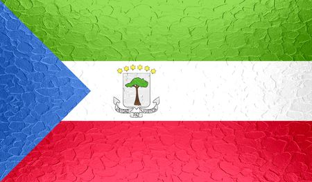 disintegrating: Equatorial Guinea flag on metallic metal texture Stock Photo