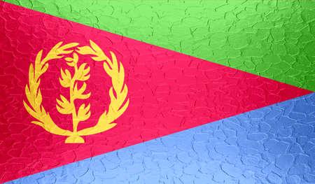 eritrea: Eritrea flag on metallic metal texture