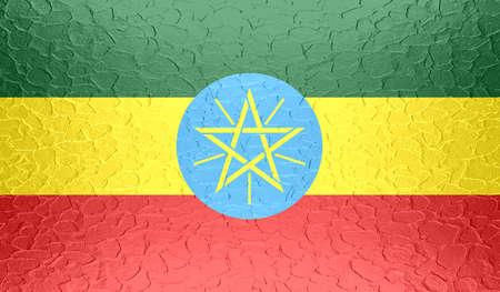 ethiopia abstract: Ethiopia flag on metallic metal texture