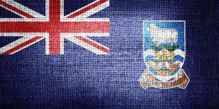 falkland: Falkland Islands flag on metallic metal texture Stock Photo