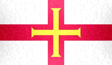 guernsey: Guernsey flag on metallic metal texture