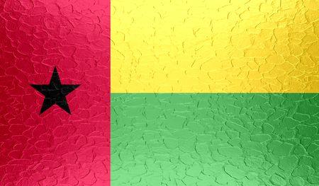 guinea bissau: Guinea-Bissau flag on metallic metal texture