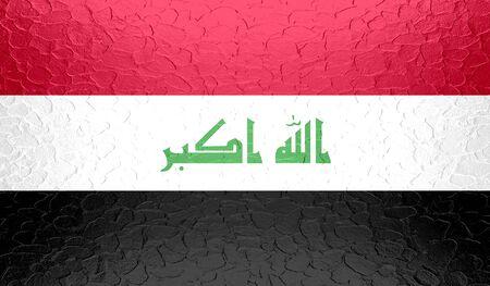 militant: Iraq flag on metallic metal texture