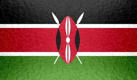 kenya: Kenya flag on metallic metal texture Stock Photo