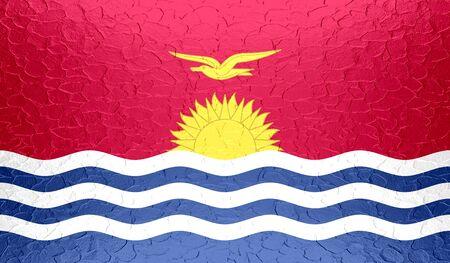 kiribati: Kiribati flag on metallic metal texture Stock Photo