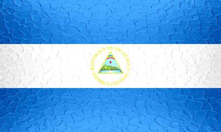 unitary: Nicaragua flag on metallic metal texture Stock Photo