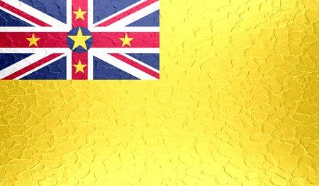 standard steel: Niue flag on metallic metal texture