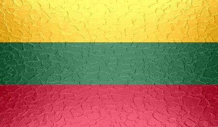 lithuania flag: Lithuania flag on metallic metal texture