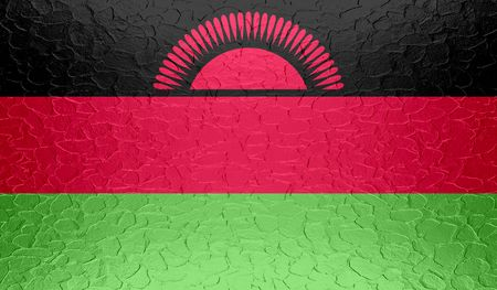 malawi flag: Malawi flag on metallic metal texture