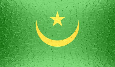 northwest africa: Mauritania flag on metallic metal texture