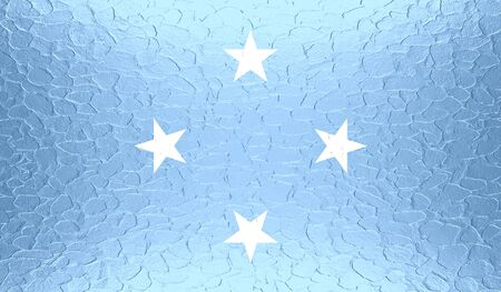 micronesia: Flag of Federated States of Micronesia on metallic metal texture