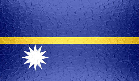 nauru: Nauru flag on metallic metal texture