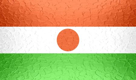 proportional: Niger flag on metallic metal texture