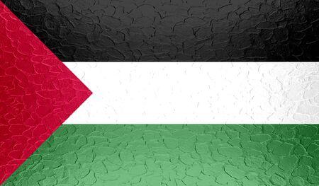 flagged: Palestine flag on metallic metal texture Stock Photo