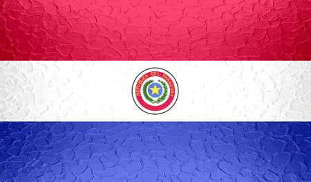 bandera de paraguay: Bandera de Paraguay en la textura del metal met�lico Foto de archivo