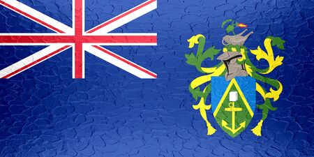 pitcairn: Pitcairn Islands flag on metallic metal texture