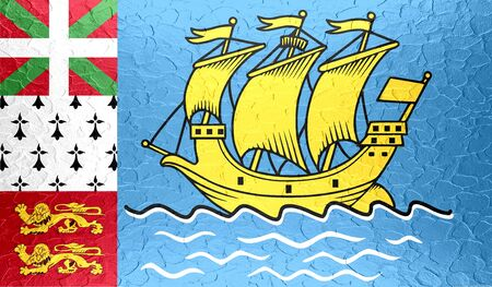 collectivity: Saint Pierre and Miquelon flag on metallic metal texture Stock Photo