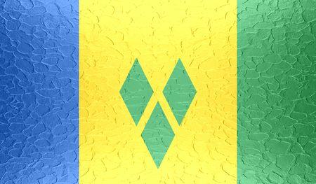 grenadines: Saint Vincent and the Grenadines flag on metallic metal texture