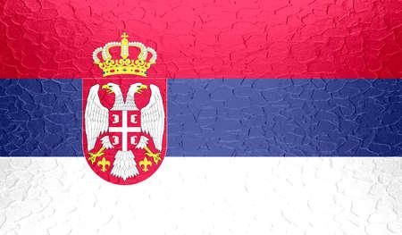 serbia flag: Serbia flag on metallic metal texture