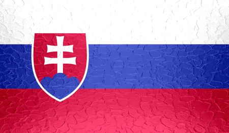 slovakia flag: Slovakia flag on metallic metal texture