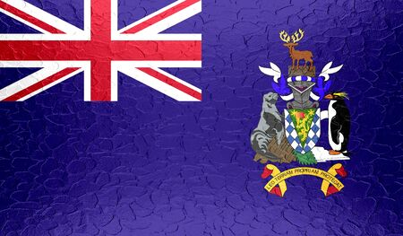 south georgia: South Georgia and the South Sandwich Islands flag on metallic metal texture