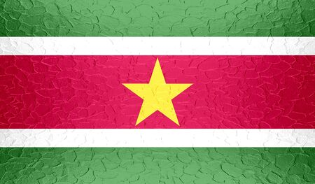 suriname: Suriname flag on metallic metal texture