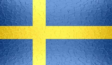 bandera suecia: Bandera de Suecia en la textura del metal met�lico