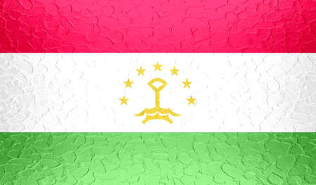 standard steel: Tajikistan flag on metallic metal texture