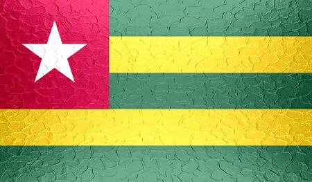 togo: Togo flag on metallic metal texture