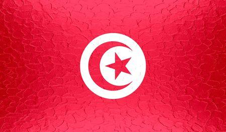 tunisia: Tunisia flag on metallic metal texture