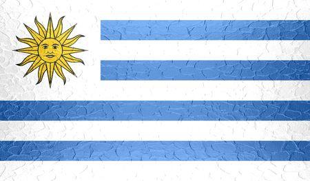 uruguay flag: Uruguay flag on metallic metal texture