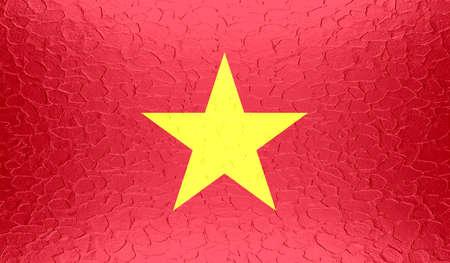 vietnam war: Vietnam flag on metallic metal texture Stock Photo