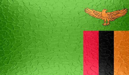 zambia: Zambia flag on metallic metal texture