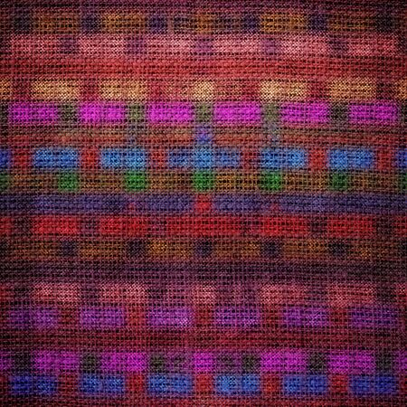 stain glass: Colorful geometric stain glass pattern burlap texture background Stock Photo