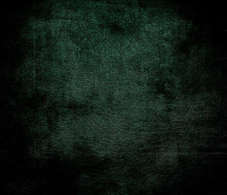 dark green: Grunge background of dark green leather texture Stock Photo
