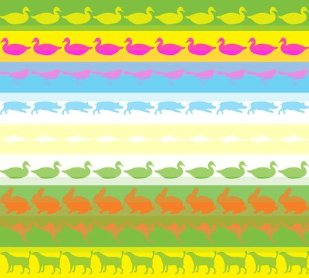 Seamless pattern with colored animals background Stock Photo