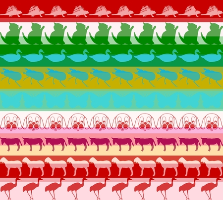 dog shark: Seamless pattern with colored animals background Stock Photo