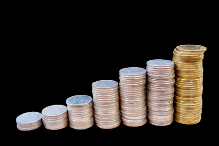coin on stacks or graph photo