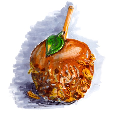 taffy: Marker sketch of coated caramel apple. Halloween dessert on wooden stick with walnut, chocolate, coconut, taffy. Tasty food. Gray shadow. Isolated on white background. Hand drawing on paper. Macro cutout. Brown, green, yellow, gray. Creativity, art. Stock Photo