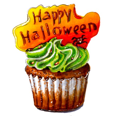 Marker sketch of Happy Halloween cupcake. Party dessert of chocolate dough with green cream, orange plate with text. Tasty food. Isolated on white background. Hand drawing on paper. Macro cutout. Brown. Creativity, art.