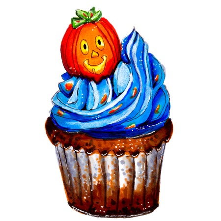 orange sign: Marker sketch of Halloween pumpkin cupcake. Party dessert of chocolate dough with blue cream, orange sign. Tasty food. Isolated on white background. Hand drawing on paper. Macro cutout. Brown. Creativity, art.