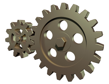 spur: Linked gears on a white background
